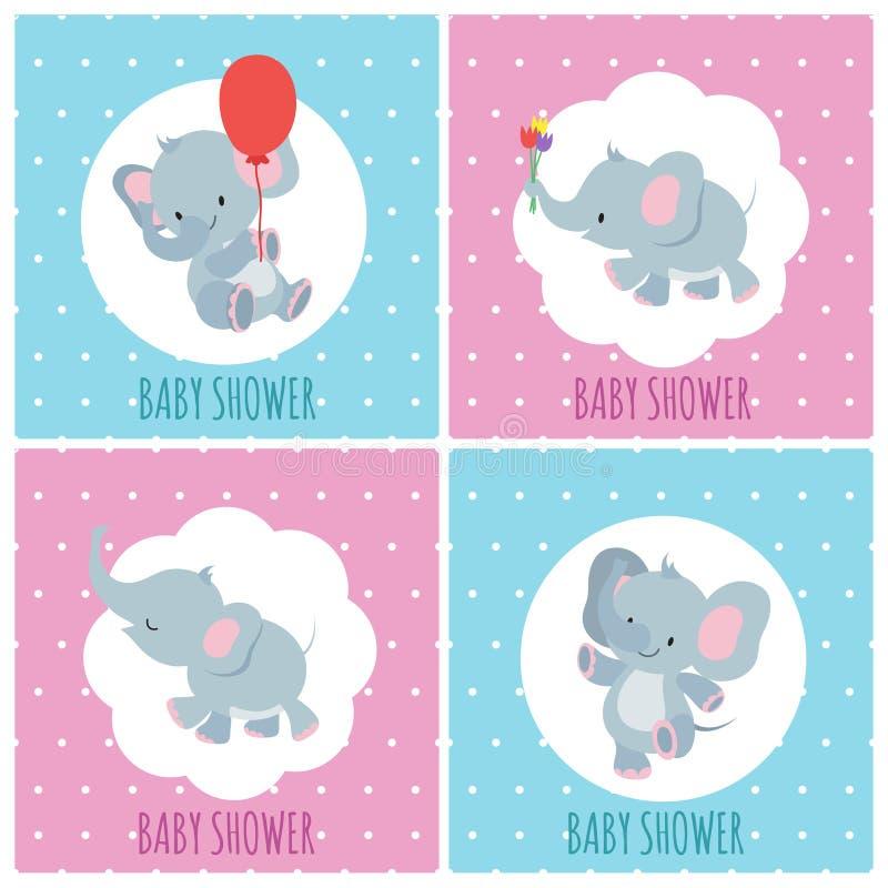 Cartões do convite da festa do bebê com grupo bonito do vetor dos elefantes dos desenhos animados ilustração stock