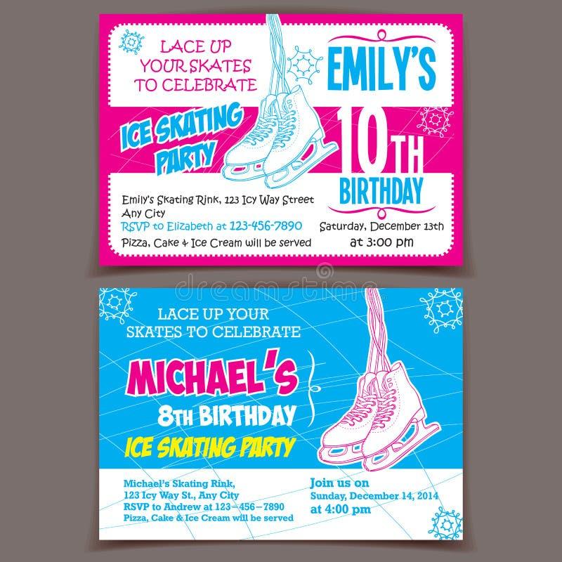 Cartões do convite da festa de anos da patinagem no gelo ilustração royalty free