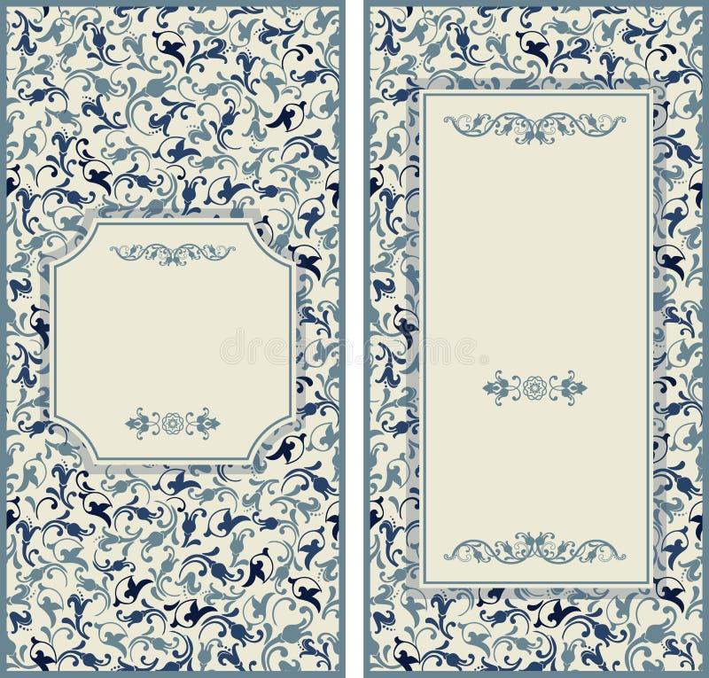Cartões do convite do casamento com elementos florais ilustração royalty free