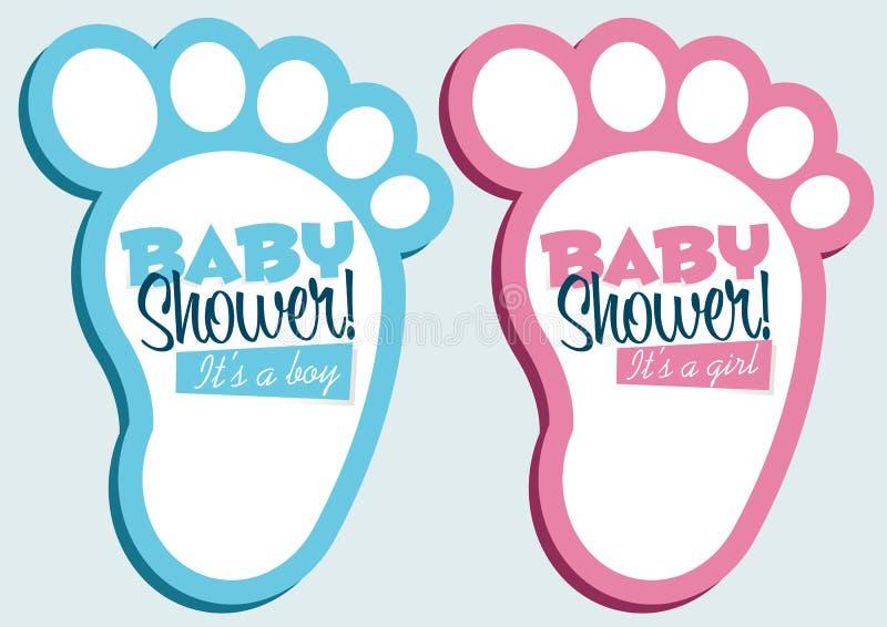 Cartões do convite do chuveiro de bebê ilustração stock