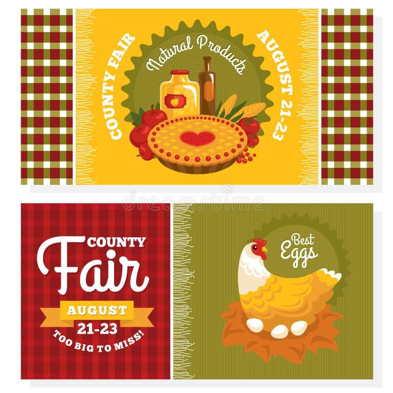 Cartões do convite do vintage da feira de condado ilustração stock