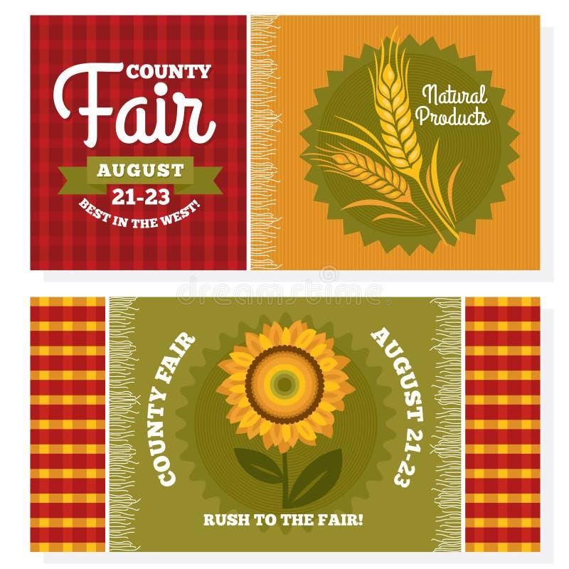 Cartões do convite do vintage da feira de condado ilustração royalty free