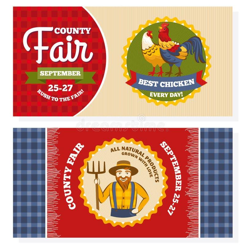Cartões do convite do vintage da feira de condado ilustração do vetor