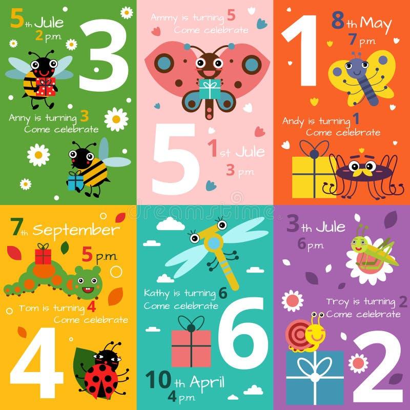 Cartões do convite para o aniversário das crianças com ilustrações de insetos e de erros engraçados Imagens do vetor ilustração do vetor