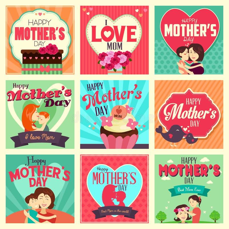 Cartões do dia de mãe ilustração royalty free