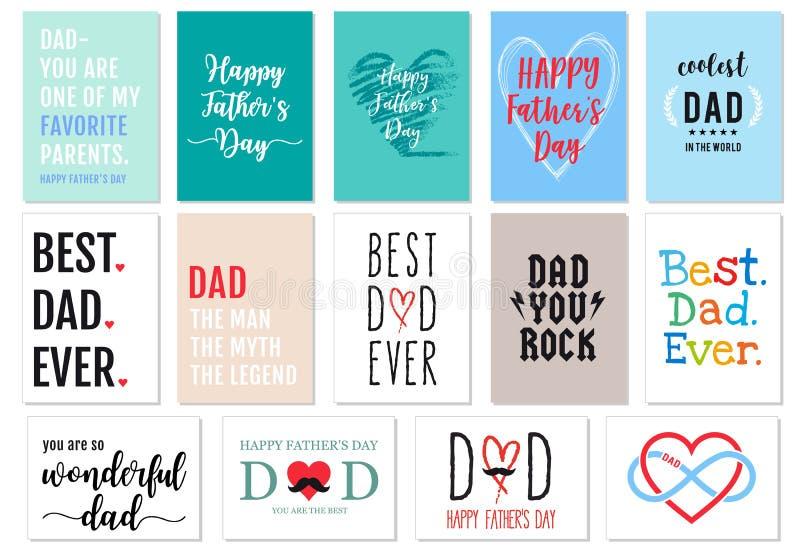 Cartões do dia de pais, grupo do vetor ilustração stock