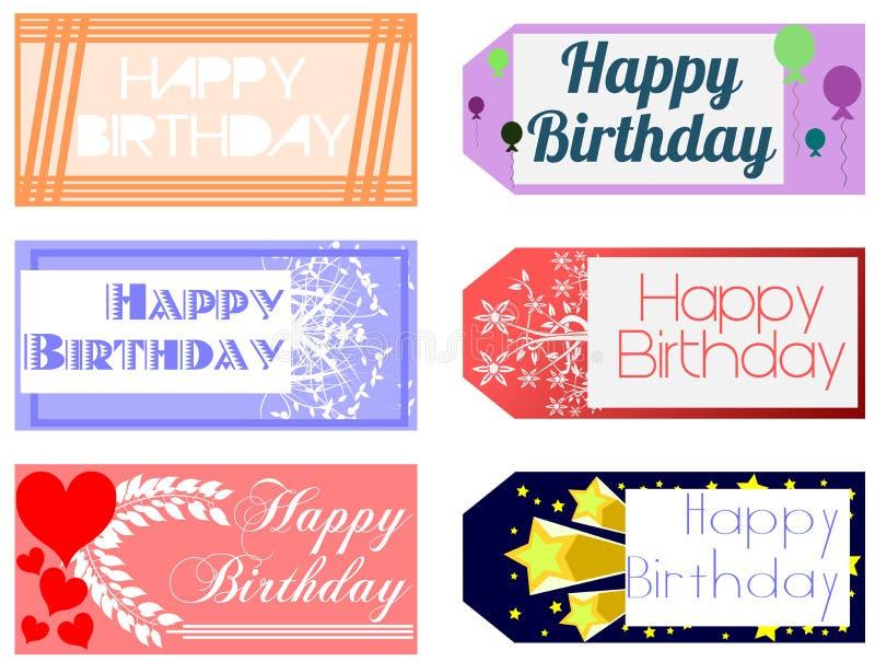 Cartões do feliz aniversario ilustração stock