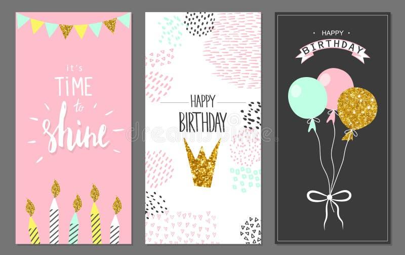 Cartões do feliz aniversario e moldes do convite do partido, ilustração Estilo tirado mão ilustração royalty free