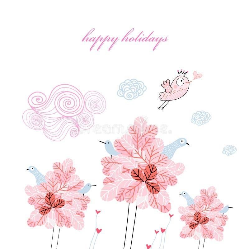 Cartões do feriado com árvores e pássaros ilustração do vetor