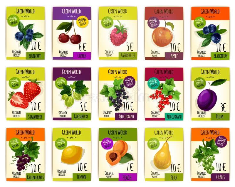 Cartões do fruto com preço para o mercado da exploração agrícola ilustração royalty free