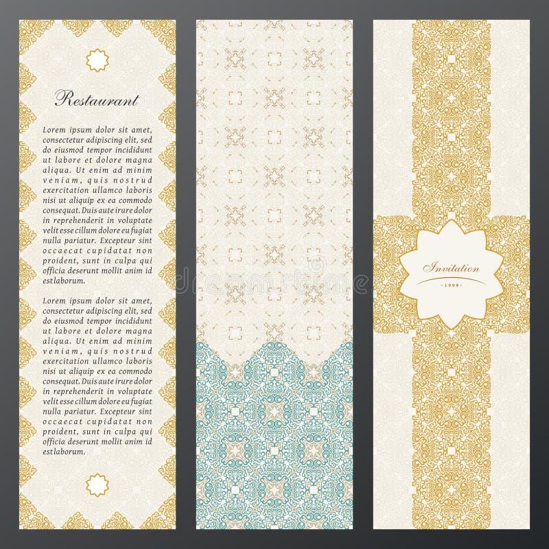 Cartões do luxo do vintage do Islã Grupo do vetor de ornamentado no projeto étnico Etiquetas do ouro com lugar para o texto Quadr ilustração stock