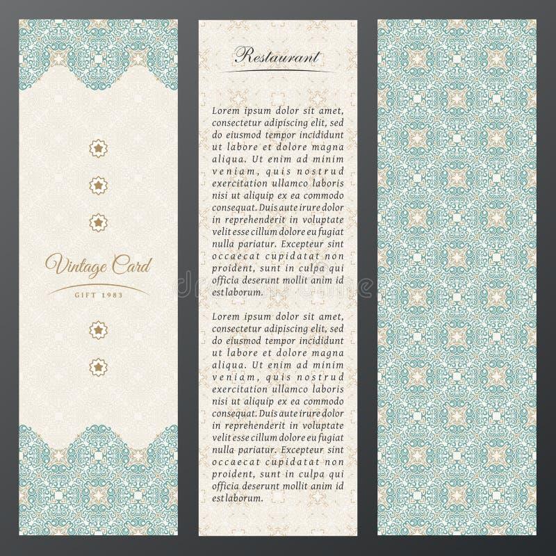 Cartões do luxo do vintage do Islã Grupo do vetor de ornamentado no projeto étnico Etiquetas do ouro com lugar para o texto Quadr ilustração do vetor