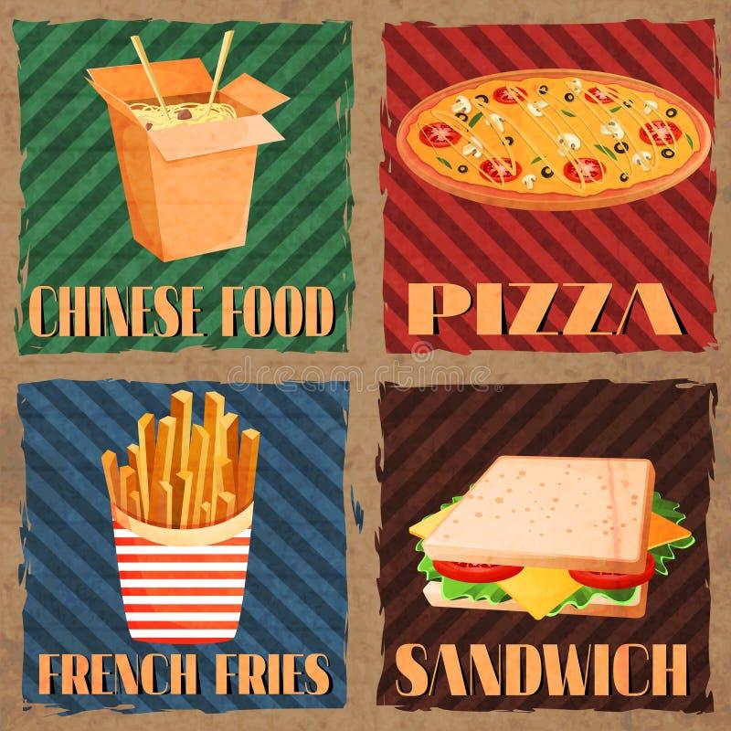 Cartões do menu do fast food ilustração do vetor