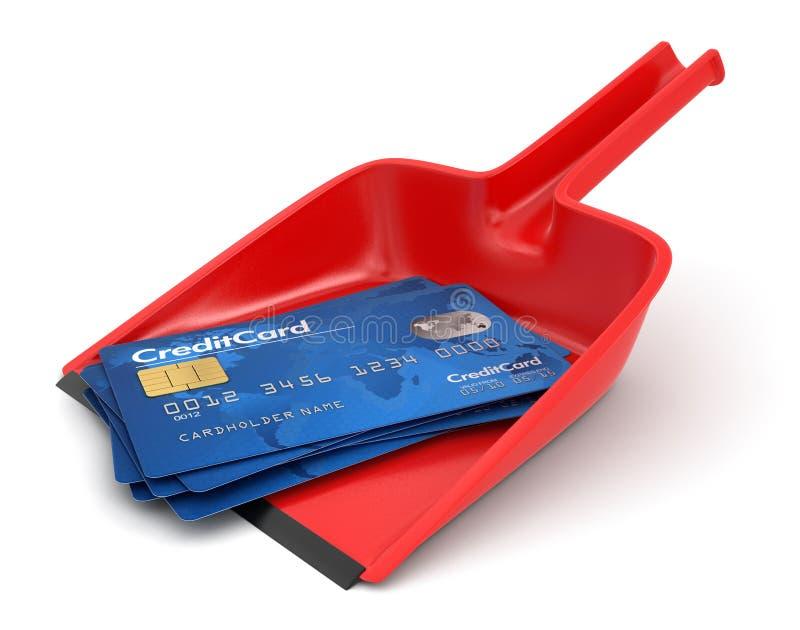 Cartões Do Pá-de-lixo E De Crédito (trajeto De Grampeamento Incluído) Fotografia de Stock Royalty Free