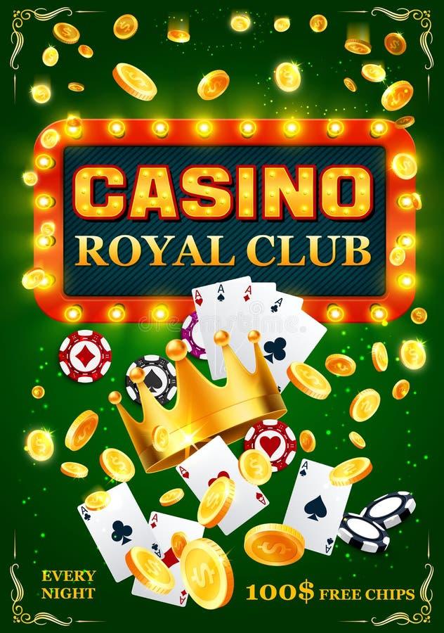 Cartões do pôquer do casino, microplaquetas e moedas douradas ilustração do vetor