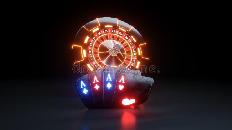 4 cartões do pôquer dos ás e Chips Online Casino Gambling Concept - ilustração 3D ilustração do vetor