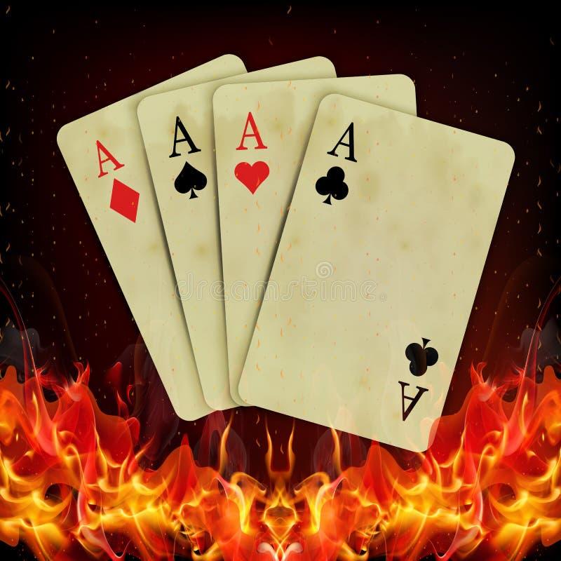 Cartões do pôquer que queimam o fogo ilustração stock