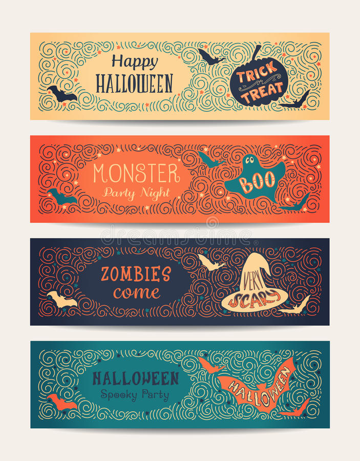 Cartões do partido de Dia das Bruxas ilustração do vetor