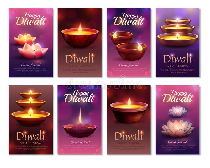 Cartões do vertical da celebração de Diwali ilustração royalty free