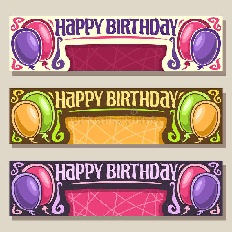 Cartões do vetor para o feliz aniversario ilustração stock