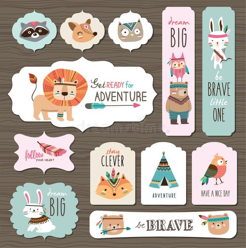 Cartões dos animais ilustração do vetor