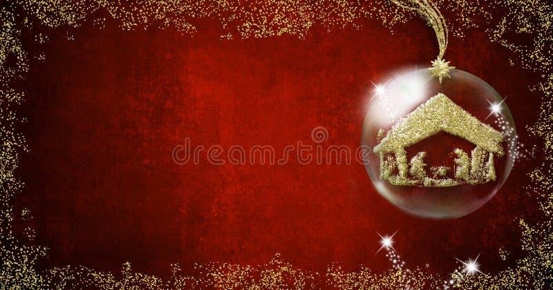 Cartões dos fundos do Natal da cena da natividade fotografia de stock