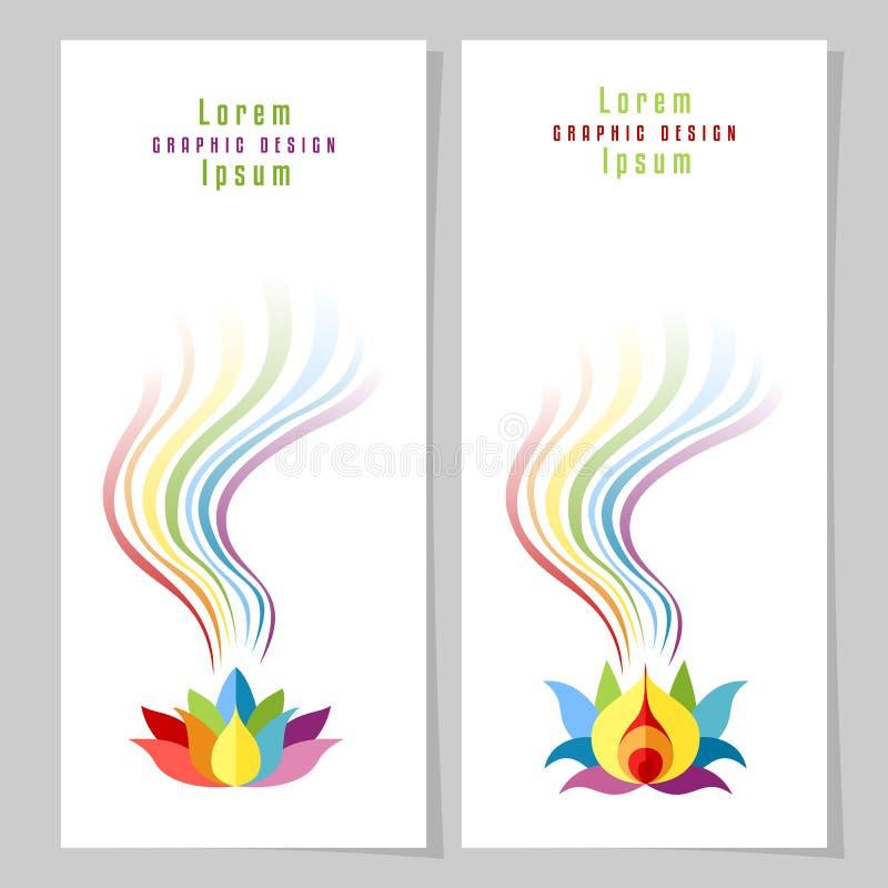 Cartões dos lótus do arco-íris ilustração royalty free