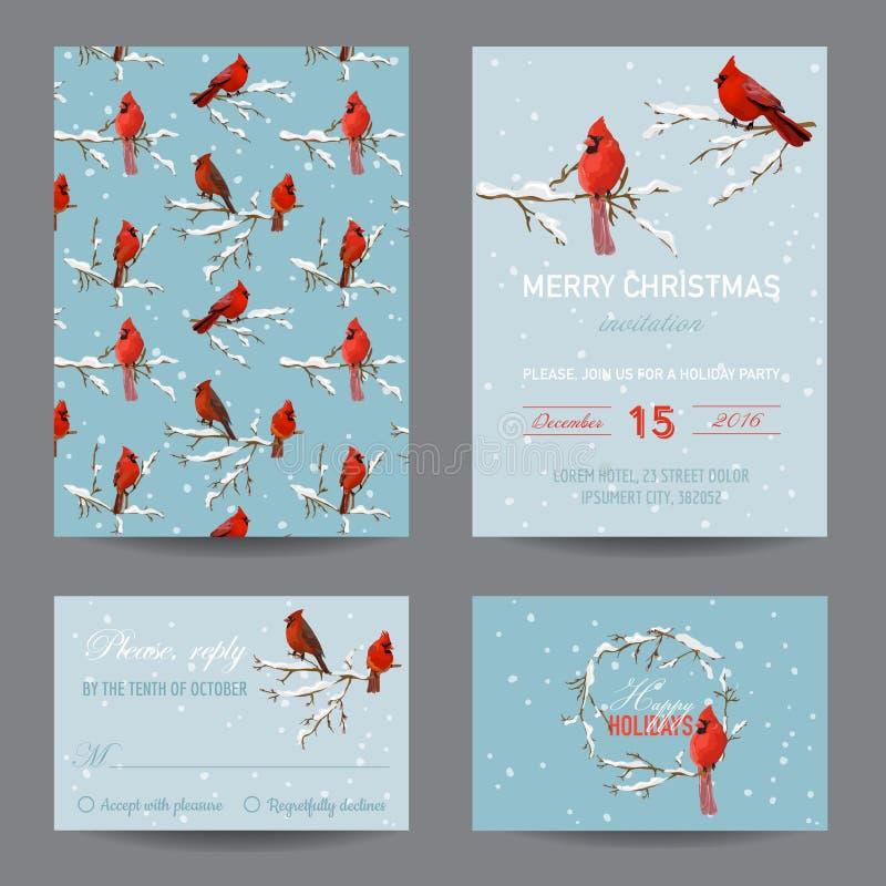 Cartões dos pássaros do inverno do Natal ilustração royalty free