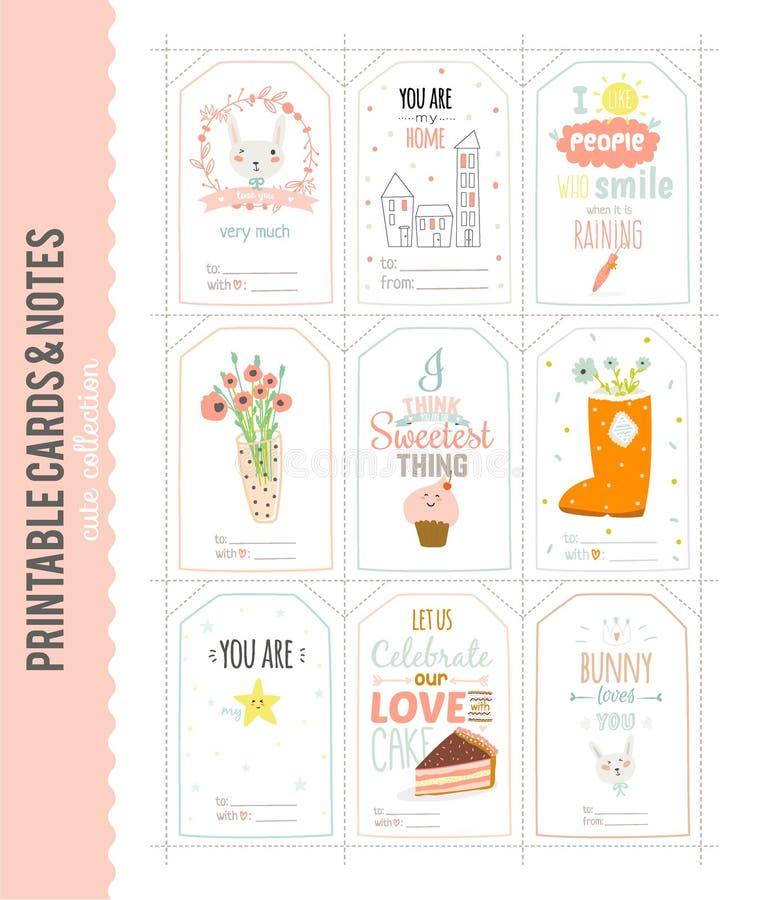 Cartões e etiquetas de Natal bonitos do vetor ilustração stock