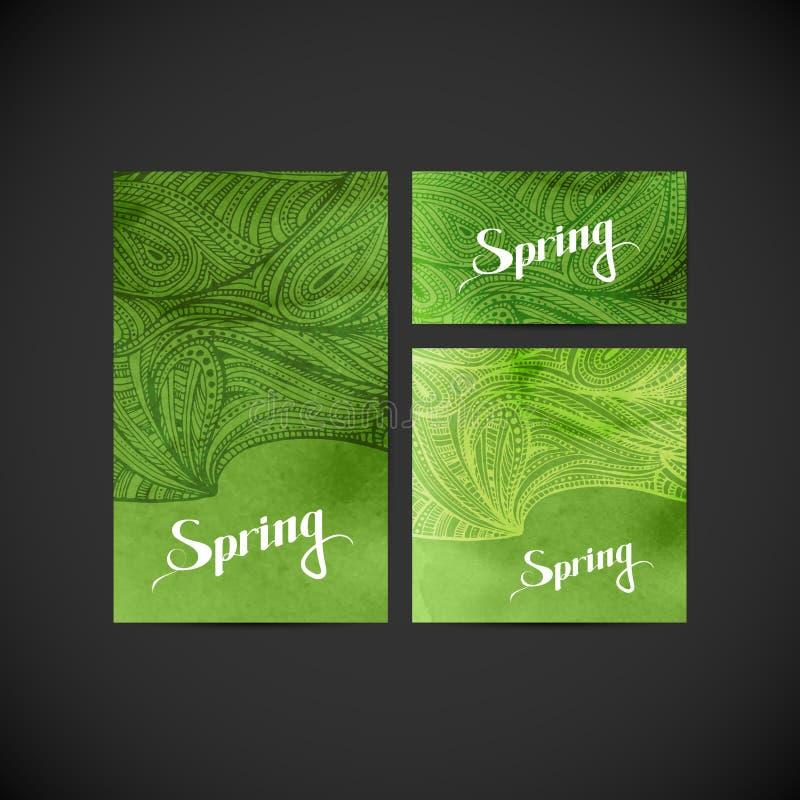 Cartões e insetos do respingo da aquarela com teste padrão do zentangle Sprin ilustração stock