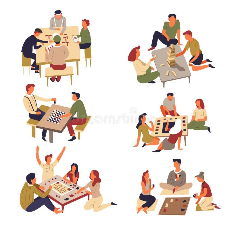 Cartões e jenga do jogo do dominó e da xadrez dos jogos de tabela ilustração do vetor