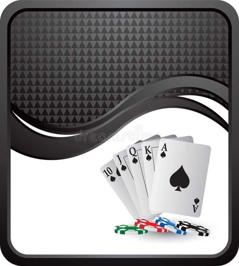Cartões e microplaquetas de jogo na onda checkered preta ilustração do vetor