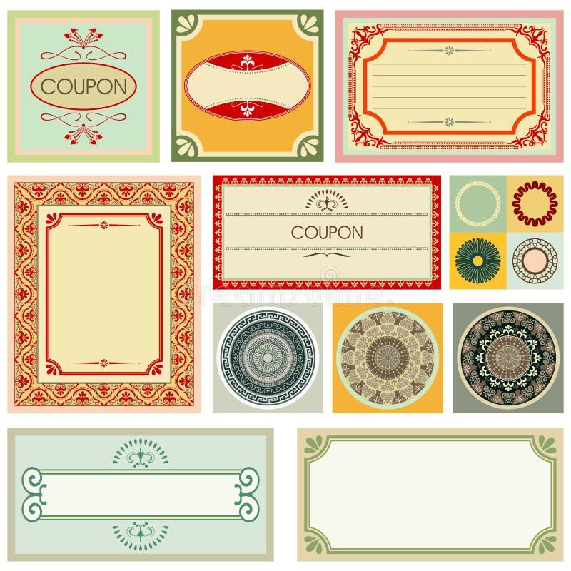 Cartões e ornamento decorativos ilustração do vetor