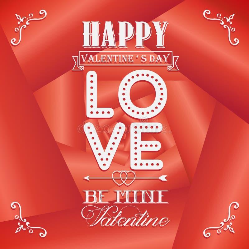 Cartões felizes do dia de Valentim no fundo cor-de-rosa ilustração royalty free