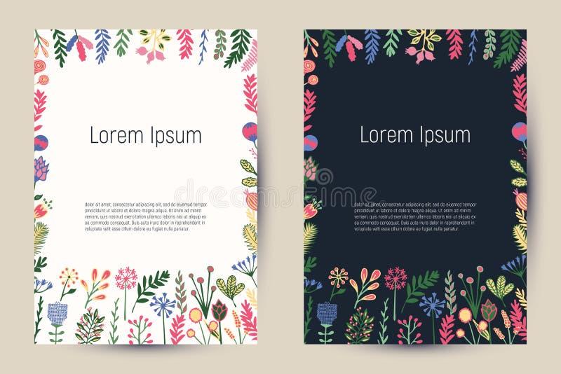 Cartões florais criativos com flores e as plantas de florescência ilustração stock