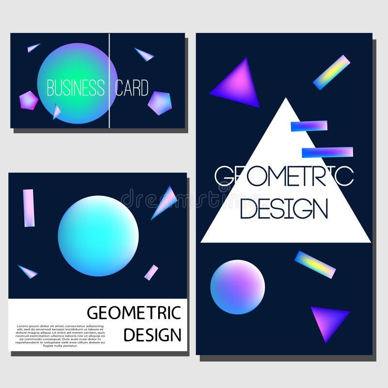 Cartões geométricos Moldes do projeto da tampa Folheto, cartões, insetos com formas de néon de incandescência abstratas Elementos ilustração do vetor