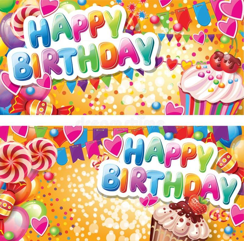 Cartões horizontais do feliz aniversario ilustração do vetor