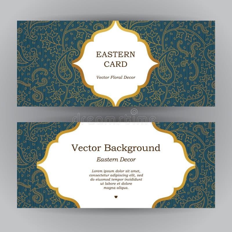 Cartões horizontais ornamentado do vintage ilustração royalty free