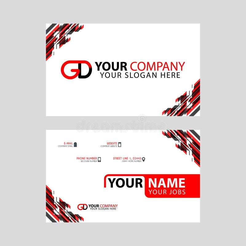 Cartões horizontais simples modernos do projeto com cor preta vermelha interna e transparente do logotipo de GD ilustração stock