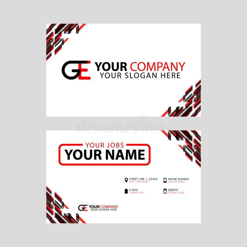 Cartões horizontais simples modernos do projeto com cor preta vermelha interna e transparente do logotipo de GE ilustração stock
