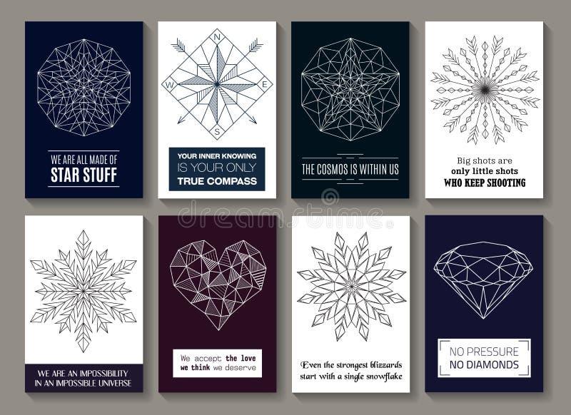 Cartões inspiradores das citações com imagens ilustração do vetor