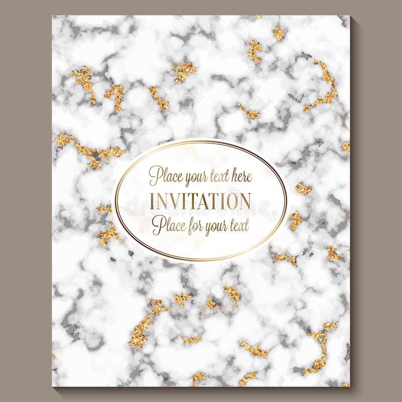 Cartões luxuosos e elegantes do convite do casamento com fundo de mármore do brilho da textura e do ouro Convite moderno do casam ilustração do vetor