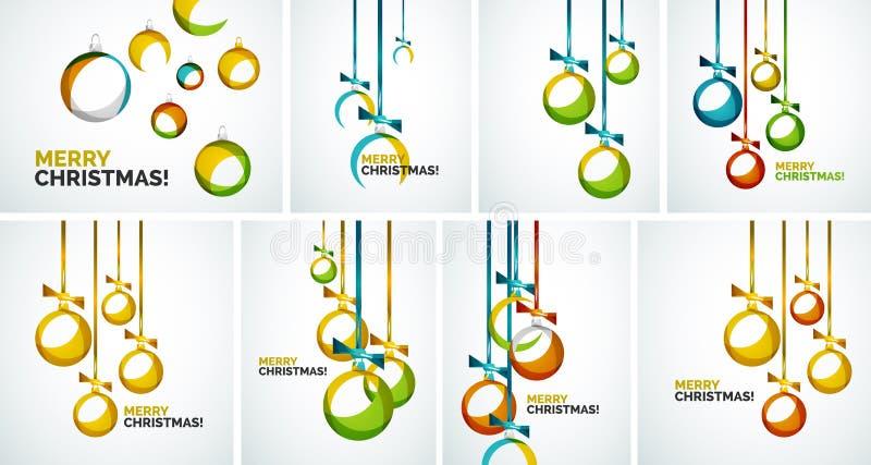 Cartões modernos do Feliz Natal - quinquilharias abstratas ilustração stock