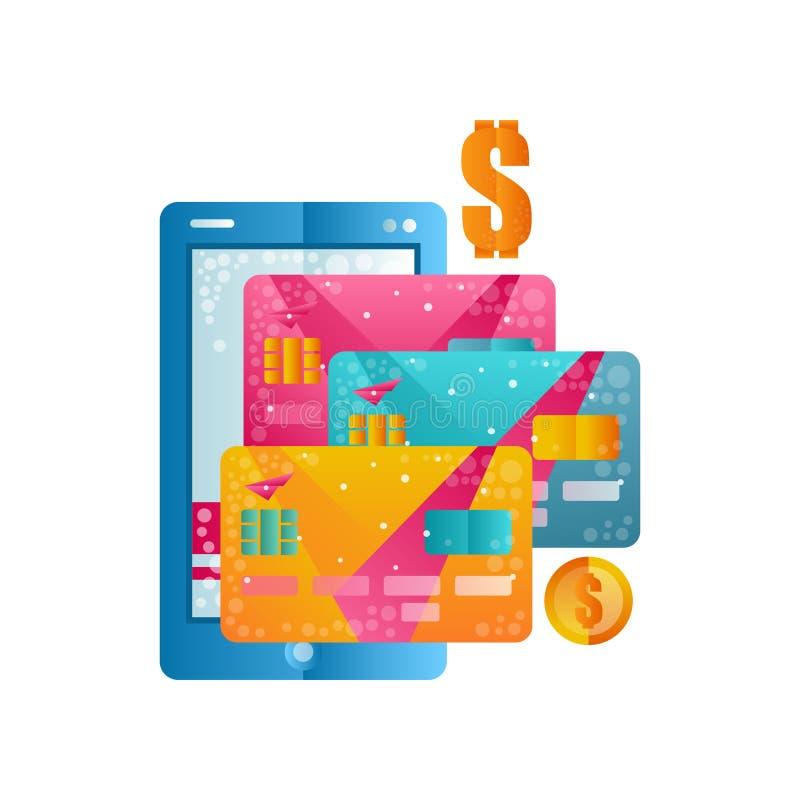 Cartões modernos do smartphone e de crédito, pagamento móvel, operação bancária em linha, compra, vetor liso do conceito do comér ilustração do vetor