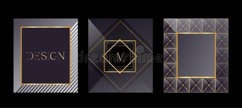 Cartões modernos Moldes de empacotamento para produtos luxuosos Projeto do logotipo, estilo do negócio Quadro para o texto ilustração stock