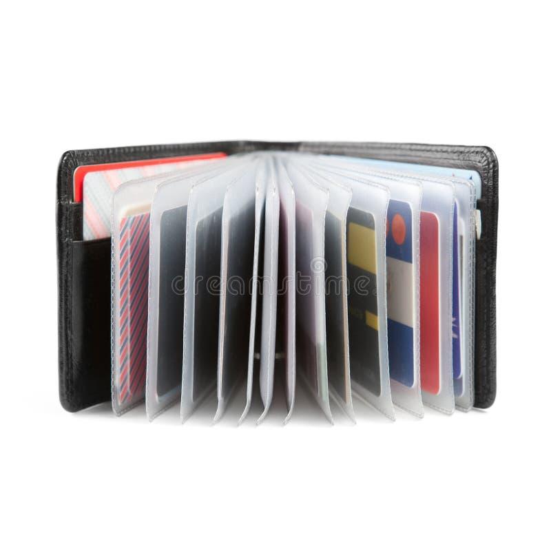 Cartões na carteira imagens de stock