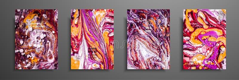 Cartões na moda criativos Moldes abstratos da pintura com lugar para seu texto Arte fluida Aplicável para as tampas do projeto, a ilustração do vetor