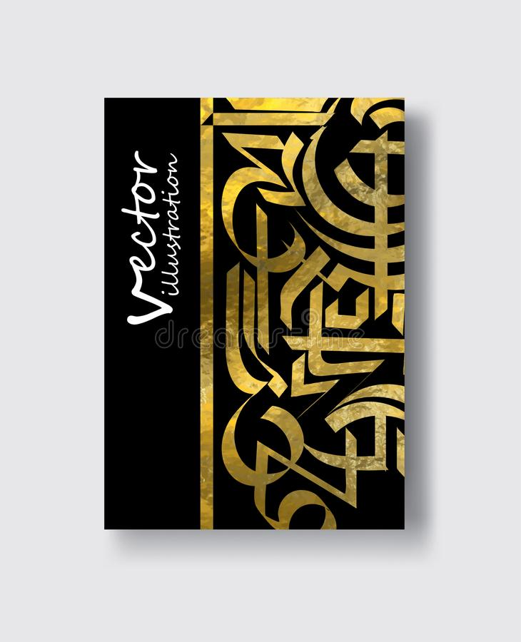 Cartões ornamentado do vintage Decoração dourada no estilo árabe ilustração stock