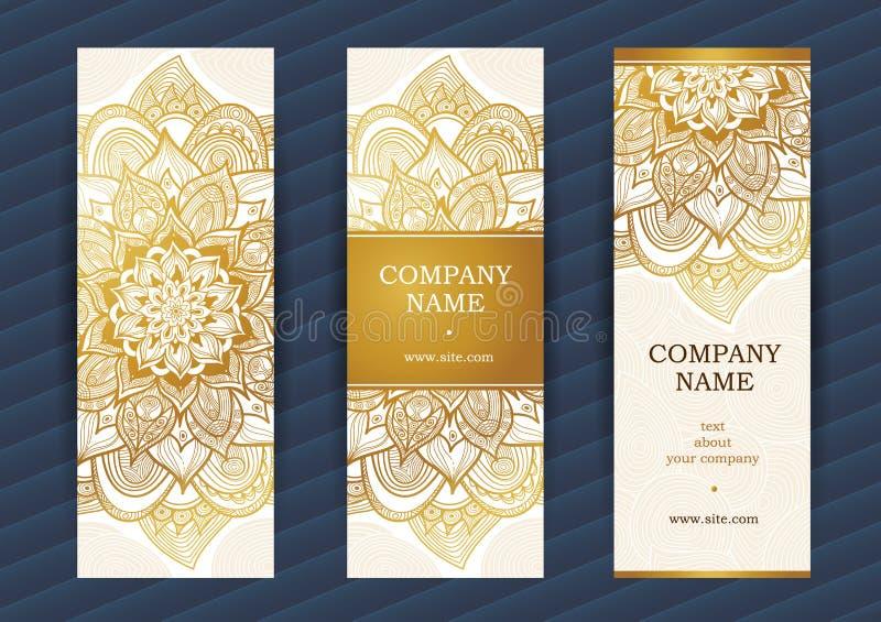 Cartões ornamentado do vintage dourado ilustração do vetor