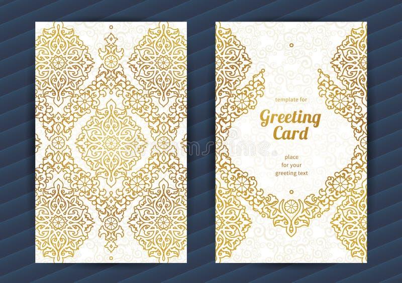 Cartões ornamentado do vintage no estilo oriental ilustração stock